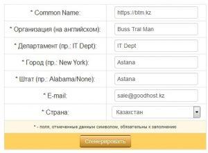 """Заполните все поля CSR генератора и нажмите кнопку """"СГЕНЕРИРОВАТЬ"""" * обратите внимание на то что все домены должны быть написанный с https:// а так же на то что при генерации Wildcard сертификата необходимо писать ваш домен следующим образом https://*.mysute.kz"""
