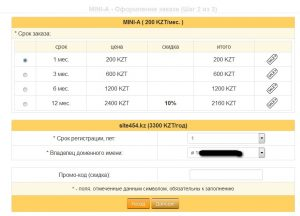 Укажите требуемый срок заказа хостинга а так же выберите владельца для регистрации домена  и срок на какой хотите зарегистрировать домен. *Обратите внимание на то что при заказе хостинга на срок от одного домена домены предоставляются в подарок к ряду тарифных планов.
