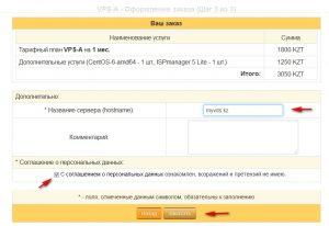 """Проверьте данные заказа, введите названия своего нового сервера (hostname*), согласитесь с условиями и нажмите """"заказать"""""""